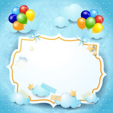 Balloons and label, custom background