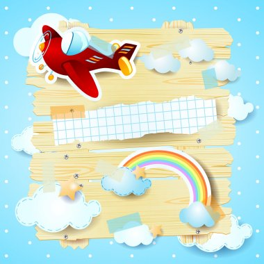 Fantasy background with airplane and rainbow
