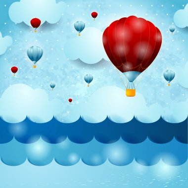 Seascape with hot air balloons, fantasy illustration