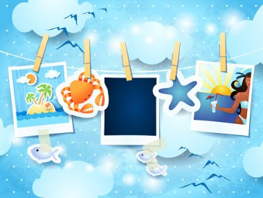 Holiday background with photo frames