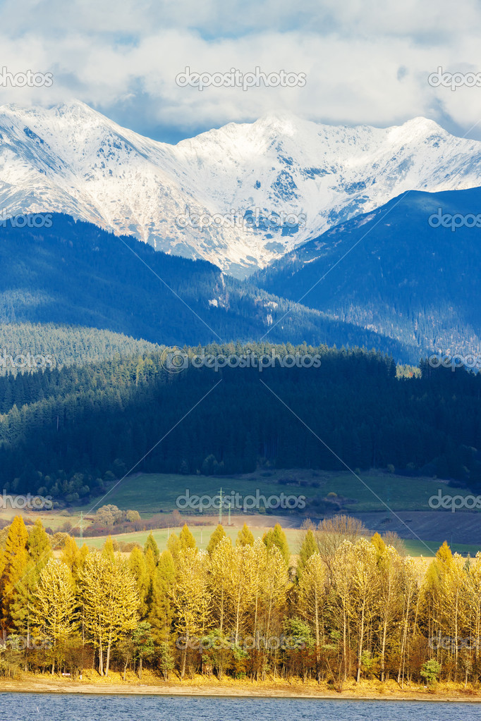 Liptovska Mara with Western Tatras at background, Slovakia
