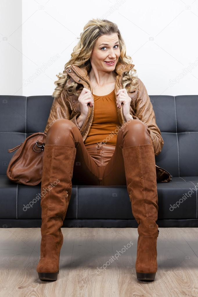 Woman Wearing Brown Clothes And Boots Stock Photo C Phb Cz 48616573