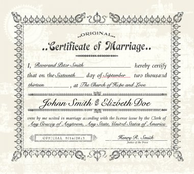 Vector Vintage Marriage Certificate. Easy to edit. Distressed overlay is easy to remove. clip art vector