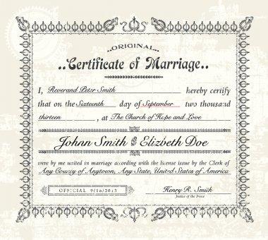 Vector Vintage Marriage Certificate.