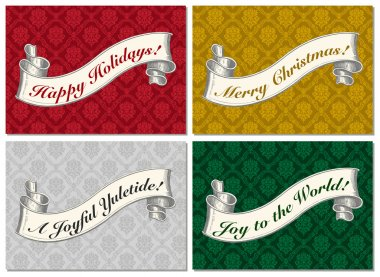 Vector Christmas Scroll Frame Set