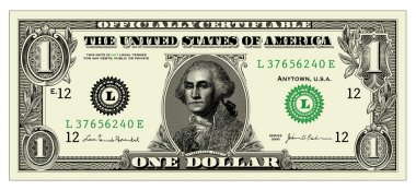Vector Realistic One Dollar Bill. All pieces are separated. Easy to edit. stock vector