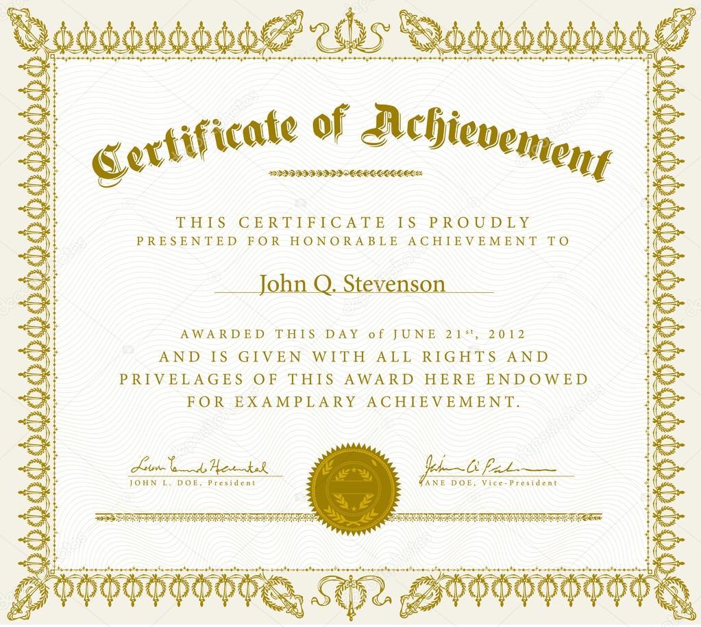 Vector Vintage Certificate of Achievement — Stock Vector ...