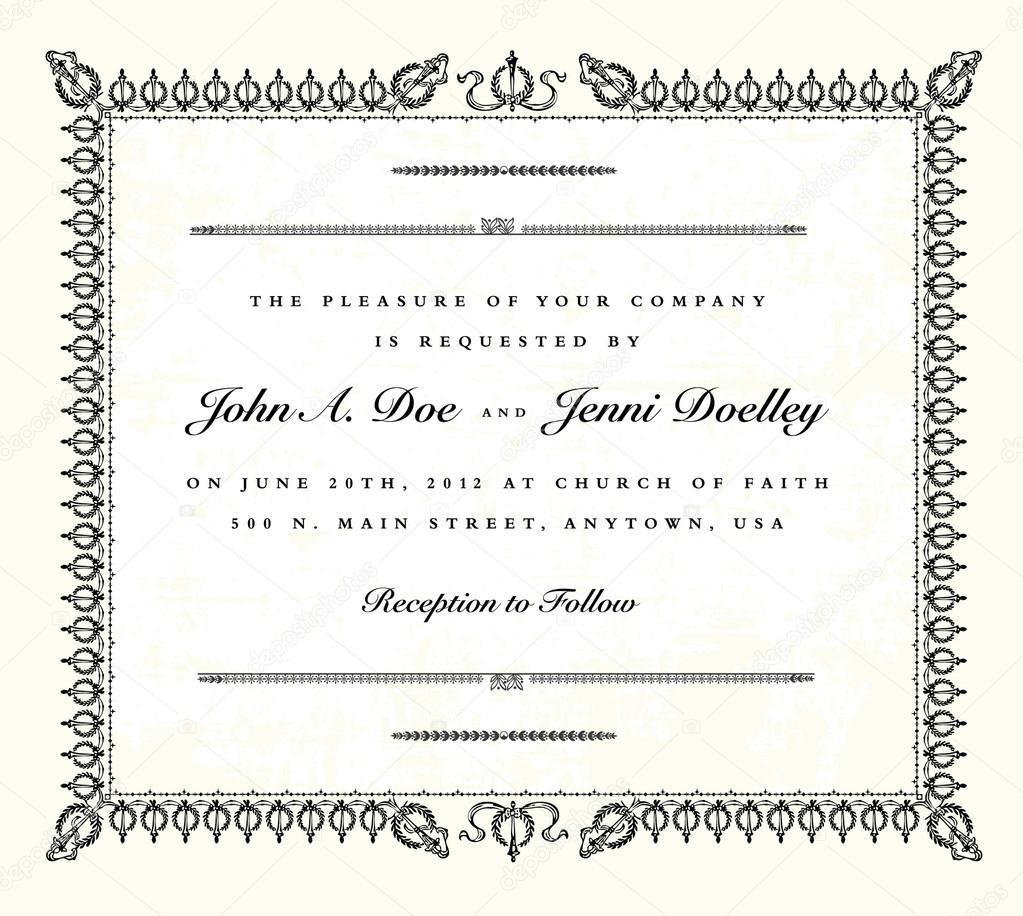 marco de invitación de boda de la vendimia de Vector — Archivo ...