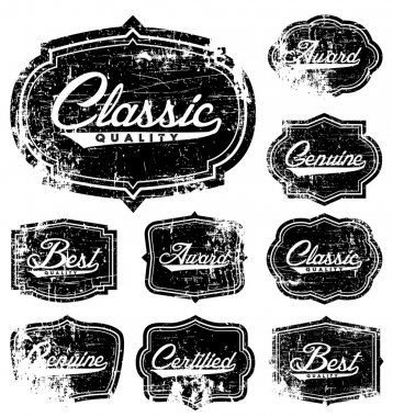 Vector Distressed Label Set