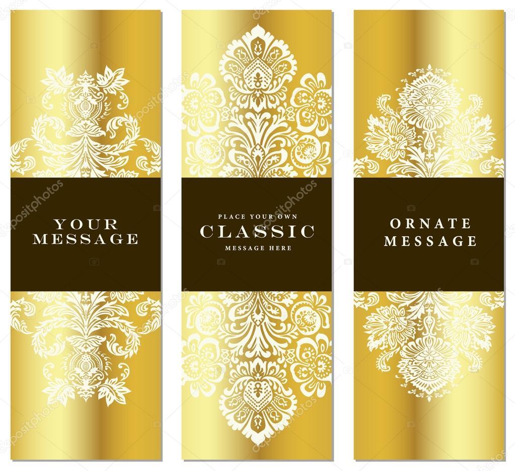 conjunto de tres marco Vector oro — Archivo Imágenes Vectoriales ...