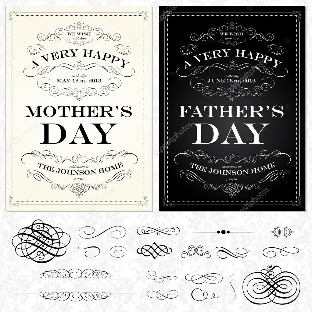 Vector Mother and Fathers Day Frames