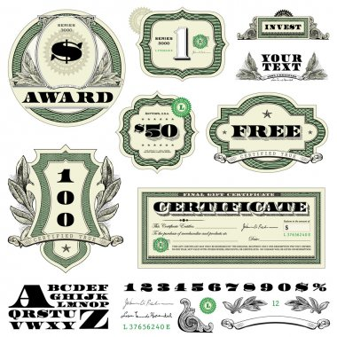 Vector Money Frame and Ornament Set