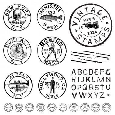 Vector Clipart Vintage Stamp and Label Set