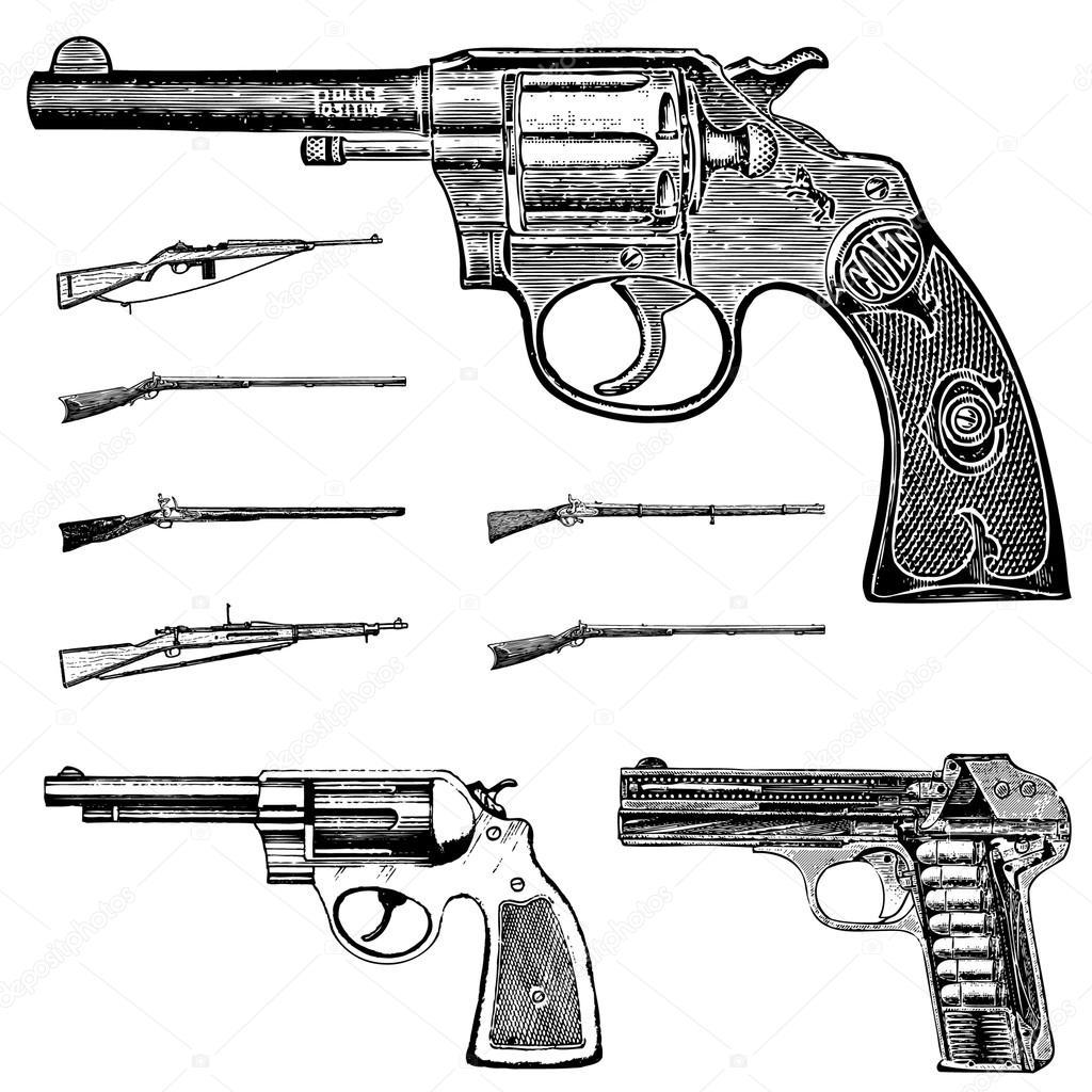 Vector Clipart Vintage Pistol Gun and Rifle Set — Stock ...