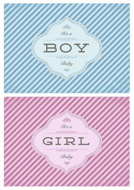 Vector Boy and Girl Striped Birth Announcment Set