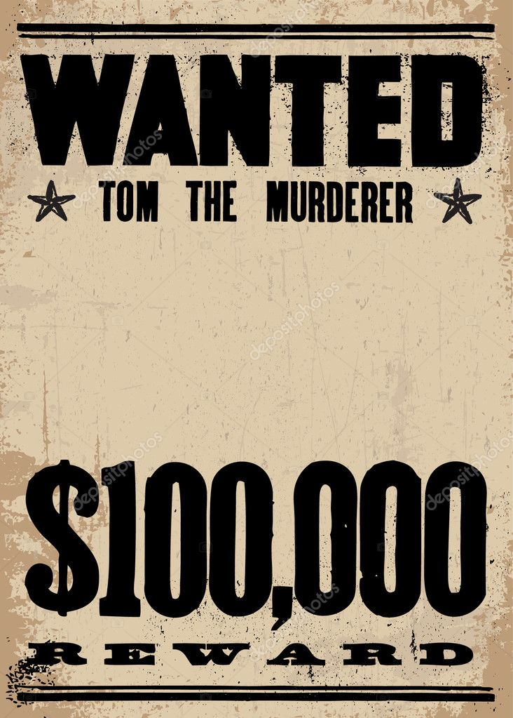 Vector Vintage Wanted Poster Template U2014 Stock Vector