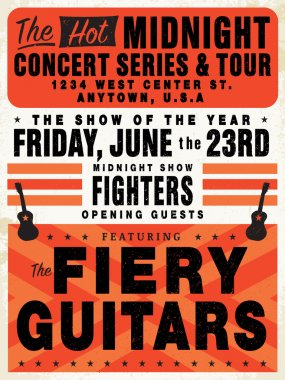 Easy to edit! Clipart retro concert poster. Great for posters and announcements.Vector file is an EPS 10 file. Vector editing features are only available with the EPS file. Watermarks are removed from the image you get after purchasing. stock vector