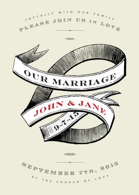 Vector Vintage Wedding Invite with Banner