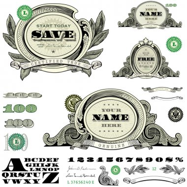Vector Money and Frame Template Set