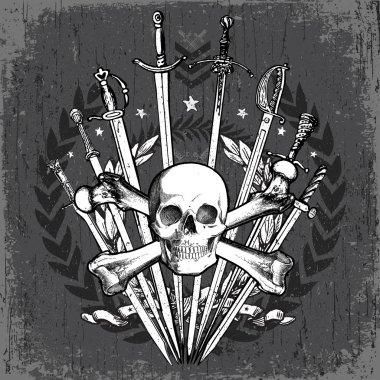 Vector Grunge Skull and Swords