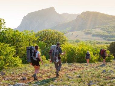 Hikers group walking