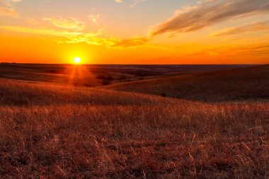 Orange glow of a sunset in Kansas Flint Hills