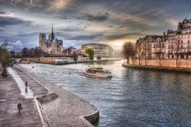 View from the embankment on Notre-Dame de Paris