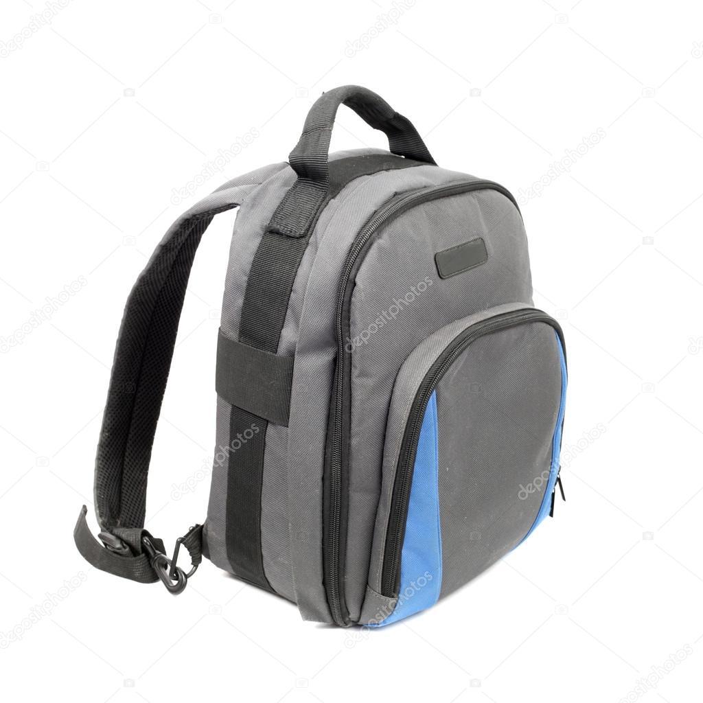 Modrý a šedý batoh izolovaných na bílém — Fotografie od ... bec9037042