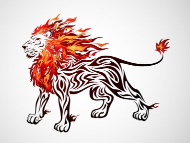 Illustration of a lion tribal pattern with flame stock vector