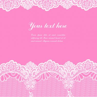 White lace on pink background and place for your text clip art vector