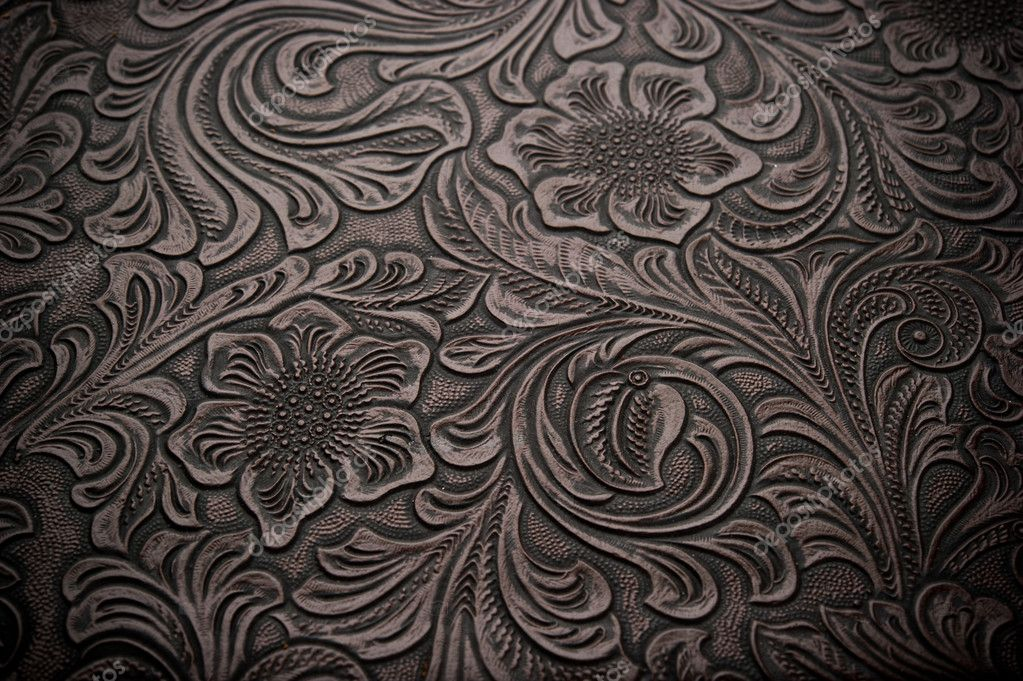 Background With Floral Engraved Leather Stock Photo C Gregory21 13266110