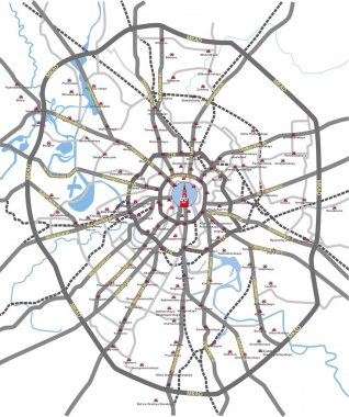 Moscow roads and subway stations map