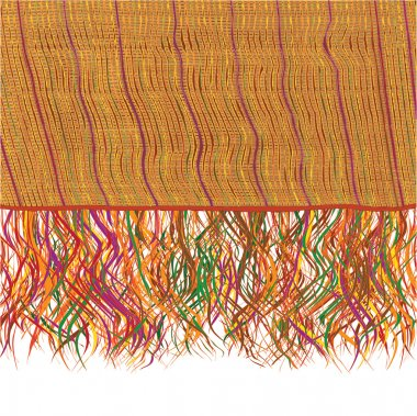 Colorful grunge striped weave knitted blanket with fringe