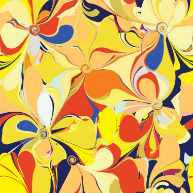 Seamless colorful pattern with stylized flowers