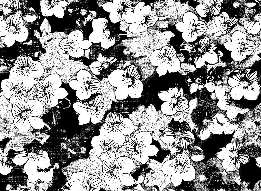 Black and white sketching floral card with small flowers on grunge stained and striped background