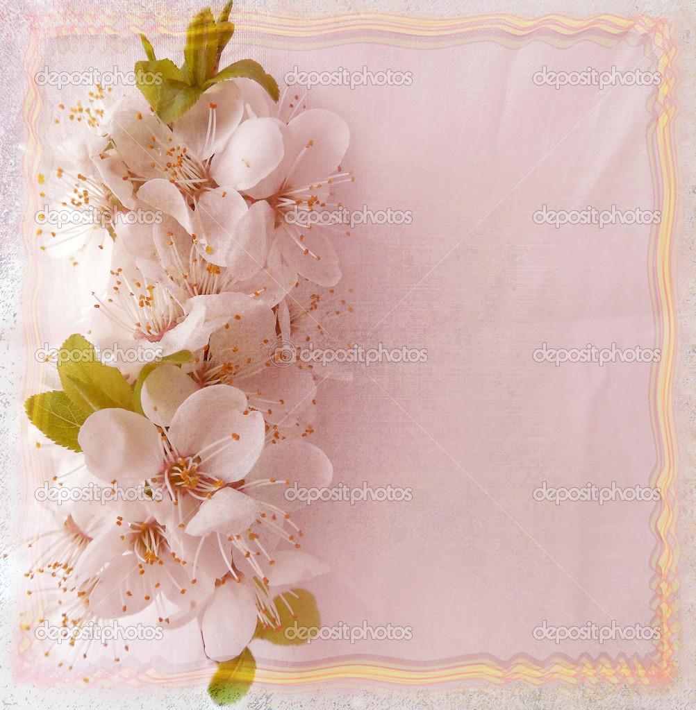 cart o floral com flores de cerejeira e ondulada moldura. Black Bedroom Furniture Sets. Home Design Ideas