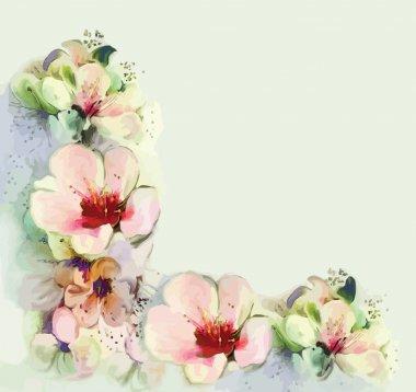 Floral vintage greeting card with spring flowers