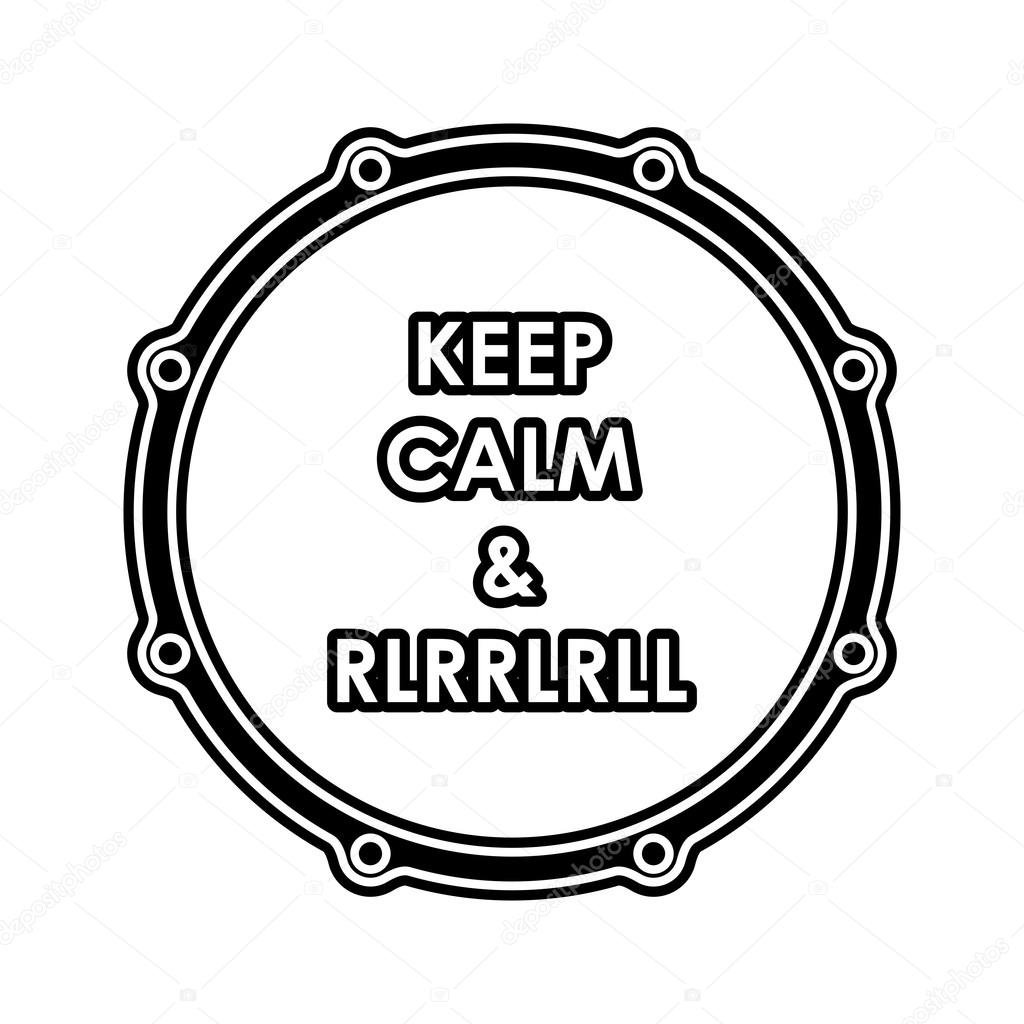 Snare Drum With Keep Calm And Rlrrlrll Inscription Vector Eps8 Stock