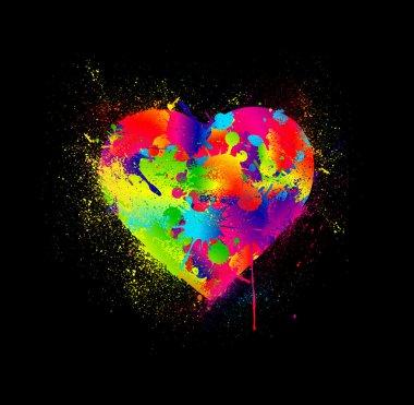 Paint splatter heart. Vector illustration
