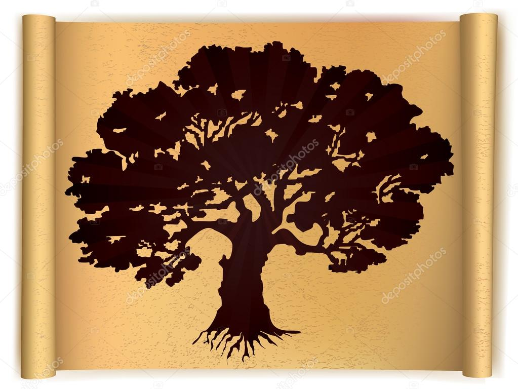 Tree on old scroll paper. Vector illustration stock vector