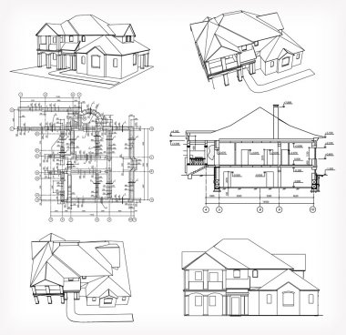 Set houses and blueprint. Vector