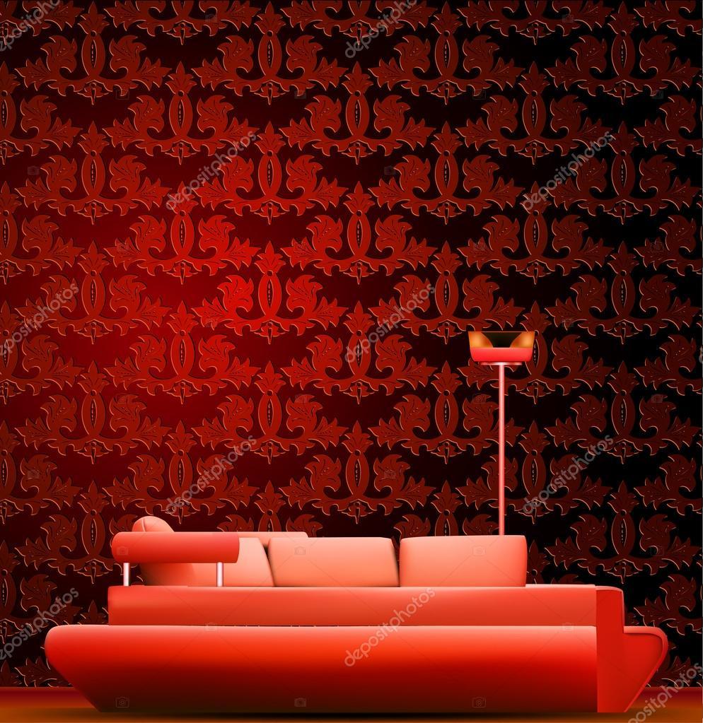 Interior De Uma Sala Com Sof E Vermelho Papel De Parede Vector  -> Papel De Parede Para Sala Com Sofa Vermelho