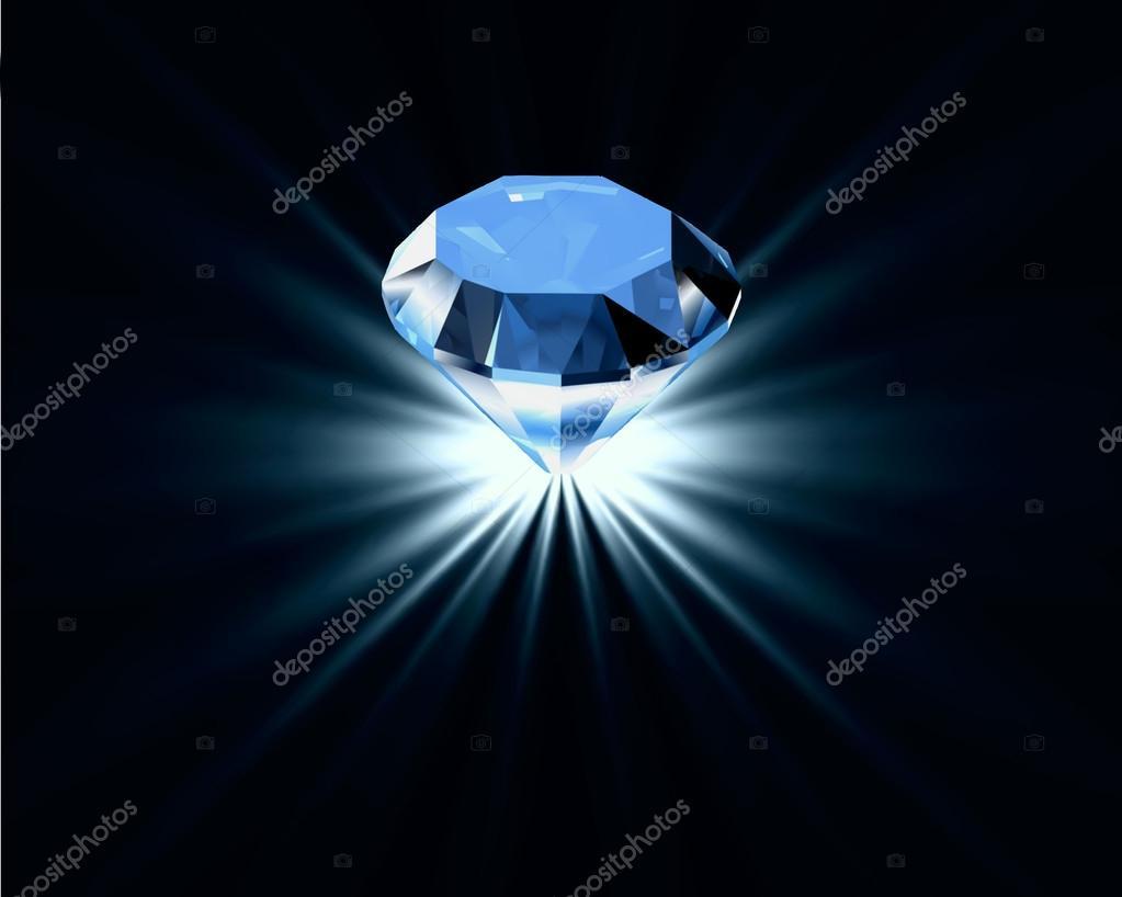 Bright blue diamond. Vector