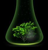 Tree in glass retort. Vector