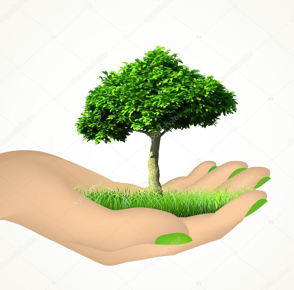 Human hand with grass and tree. Vector