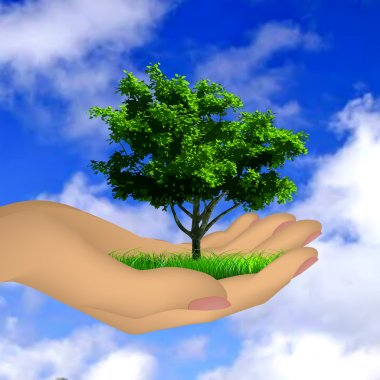 Human hand with grass, tree and sky. Vector
