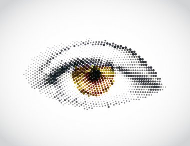 Abstract woman yellow eye made from dots. Vector