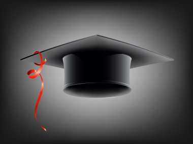Black school cap with red ribbon. Vector