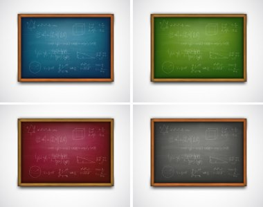 Set school boards with formulas. Vector