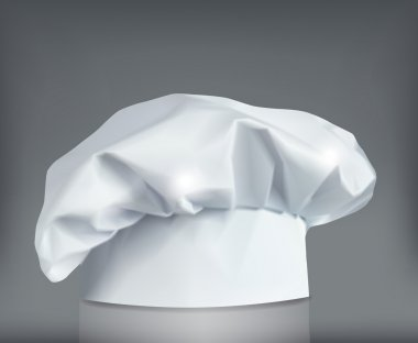 White chef or bakers hat on grey background. Vector